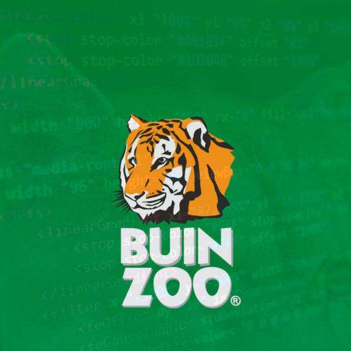 Logo de Buin Zoo con un código web de fondo