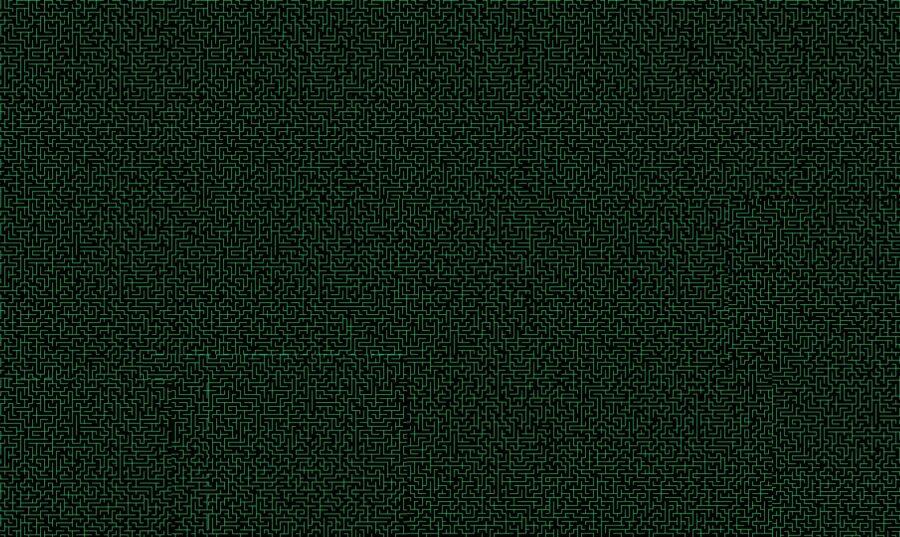 imagen con laberinto digital de color verde fliuorescente