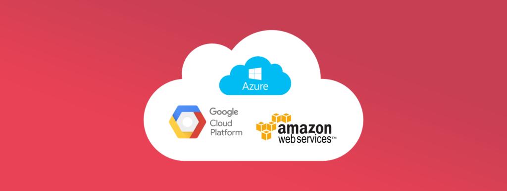 Img con los principales proovedores de servicios Cloud: Amazon, Google y Azure.