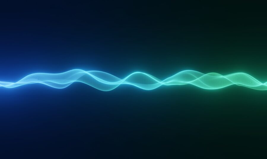 Imagen de onda electrica color azul verdosa