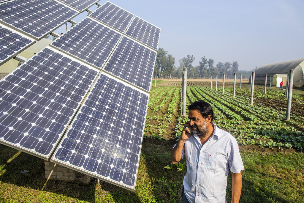 Agricultor llamando por telefono en el campo , junto a paneles solares.